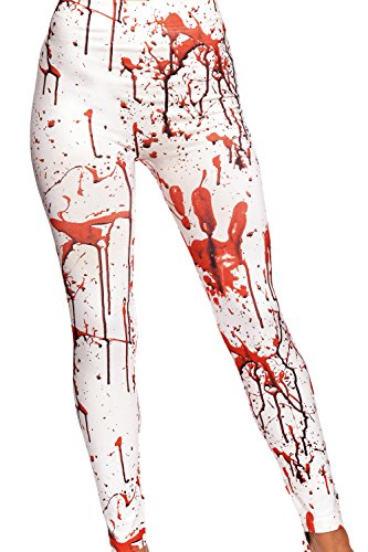 Leggings bianco rosso bloody splattered horror zombie spaventoso costume travestimento di