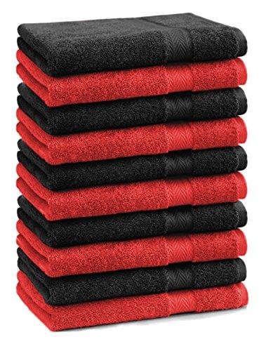 Betz Lot de 10 serviettes débarbouillettes lavettes taille 30x30 cm en 100% coton Premium couleur rouge et noir