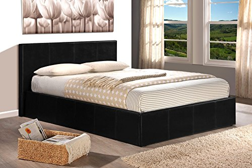 ROYAL Lit coffre adulte 140x190 + sommier PVC noir