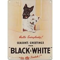 Bianco e nero due cani Whisky Targa da parete in metallo smaltato, Acciaio, S 200 (2 Metal Parete)