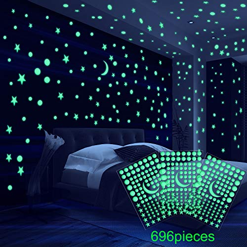 11 Stück Bettwäsche (6 Blatt 3D Gewölbt Sterne Leuchtende Wandaufkleber, Klebe Punkte Stern und Mond für Sternenhimmel, Geeignet für Kinder Bettwäsche Zimmer oder Geburtstag Geschenk (696 Stücke))
