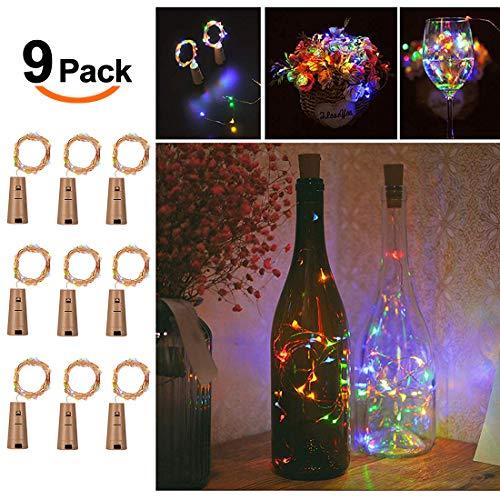 9x 20 LED Flaschenlicht, Weinflasche Flaschenlicht Kork Flaschen Licht LED Lichter Lichterkette Flaschen DIY- Flaschen Lichter für Hochzeit Party Romantische Deko,Bunt