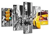 bestpricepictures 160 x 80 cm Bild auf Leinwand New York USA Taxi 5529-SCT deutsche Marke und Lager - Die Bilder/Das Wandbild/der Kunstdruck ist fertig gerahmt
