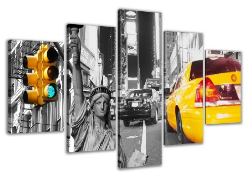 160-x-80-cm-Bild-auf-Leinwand-New-York-USA-Taxi-5529-SCT-deutsche-Marke-und-Lager-Die-Bilder-das-Wandbild-der-Kunstdruck-ist-fertig-gerahmt