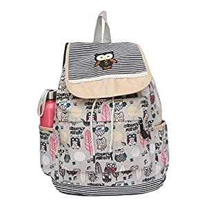 BRANDX Imported Owl passion light weight Canvas Backpack Cute Travel School College Shoulder Bag/Bookbags for Teenage Girls/Students/Women/ Girls- Off-White