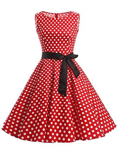 etro kleider damen mit Tupfen Abendkleid Vintage damen Rockabilly Ballkleid Rot L (60er-jahre-stil Für Frauen)