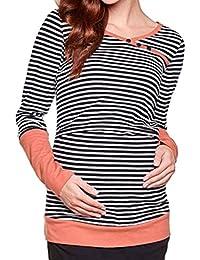 Anguang Mujer Cuello Redondo Lactancia Camiseta de Rayas Empalme de Manga Larga