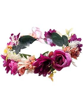 YAZILIND de flores de novia corona de Dama de honor guirnalda de pelo de playa floral diadema Mori con estilo...