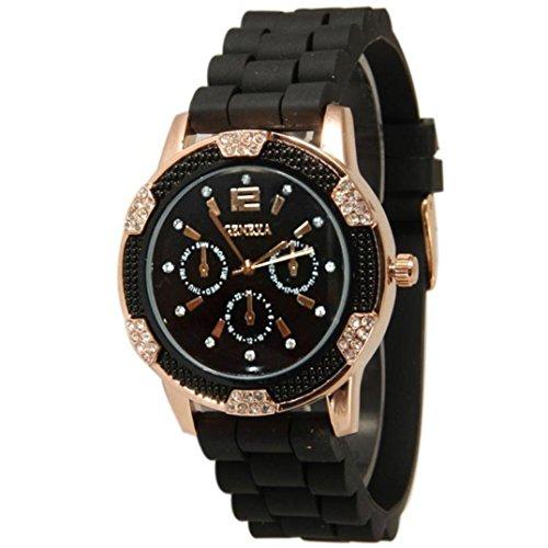 Orologio da polso da donna - uomini di sportiva orologi quarzo donna bianco rose oro chronograph silicone con strass cristallo orologio morwind (nero)