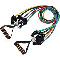 Durable Resistenza Esercizio Bands, Set di 11pezzi (5bande di resistenza, 2x Maniglie in schiuma, resistente ancoraggio per porta, 2Cinturini caviglia) ideale per casa, Palestra, Fitness, Yoga, Pilates