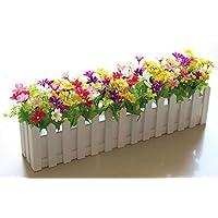 NOHOPE Valla de madera emulación / FLORES FLORES falsas idílico en maceta pequeña emulación / arte floral flores de plástico valla de madera interior y ...