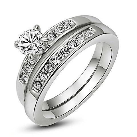 Yoursfs Zirkonia Ring 2017 Männer Verlobungsringe Silber Doppelte Edelstahl als Valentinstage-oder Geburtstagsgeschenk