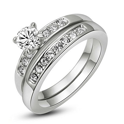 g 2017 Männer Verlobungsringe Silber Doppelte Edelstahl als Valentinstage-oder Geburtstagsgeschenk (18 Karat Gold Ring Für Männer)