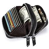 S-ZONE Multifunktions RFID Portemonnaie für Frauen Echtes Leder Geldbörse Doppel-Reißverschluss-Schlüssel Kreditkarteninhaber Münzfach Geld Geldbörse mit ID Case (Schwarz)