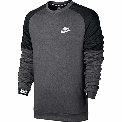 Nike M NSW AV15 CRW FLC - Langärmeln T-Shirt Grau Charcoal Heather/Black/(White)