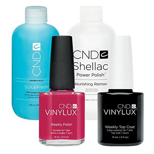 CND Vinylux Rose Brocade plus Top Coat 15 ml plus Shellac Remover 236 ml plus Scrub Fresh 236 ml, 1er Pack (1 x 0.502 l) (Rose Tops Scrub)
