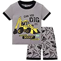 HIKIDS Boys Short Pyjamas Set Kids Excavator Pjs Little Boys Summer Sleepwear 3-4 Years Grey
