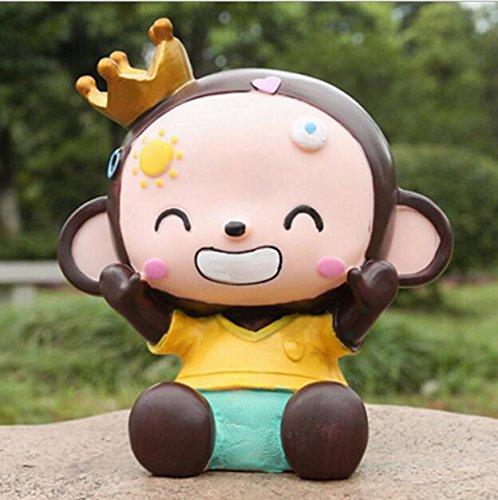 YOIL von schönen Möbel Dekoration Geld Bank Crown Monkey Piggy Bank bruchsicher Harz Ornamente Geburtstagsgeschenk (Boy Monkey)