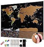 Carte du monde à gratter XXL Escapades avec drapeaux 82 x 59 cm
