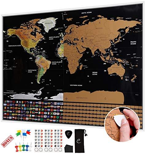 Escapades, Mapa mundi rascar XXL, edición original con las banderas de todos los países. El regalo ideal para los viajeros. Tamaño grande: 82 x 59 cm + accesorios de bonificación GRATIS