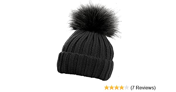 bc3b61f4731 Children s Ribbed Hat with Solid Faux Fur Pom Pom Warm Bobble Hats (Black)   Amazon.co.uk  Clothing