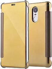 Cool & Creative New Luxury Smart Semi Clear View Mirror Flip Cover for MI REDMI Note 3 Gold
