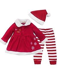 Freebily Conjunto de Navidad Fiesta para Bebé Niña (9-24 Meses) Vestido + Pantalones Rayas + Gorro Chaqueta Abrigo Disfraz de Princesa