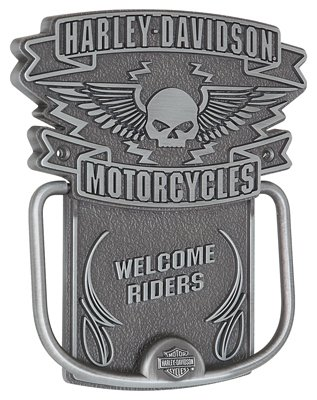 Harley-Davidson Door Knocker, Winged Willie G. Skull Knocker, Silver HDL-10097 by Harley-Davidson