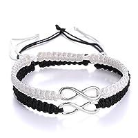 DIBEILLIA 2Pcs Set Encouraging Friendship Infinity Bracelet Gift Handmade Adjustable Bangle