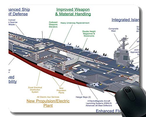Mauspad mit genähter Kante, Flugzeugträger USS Gerald R. Ford Rutschfeste Gummi-Gaming-Mauspad