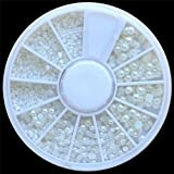 SODIAL(R) Weisse Perlen Nail Art Steine Perlen unterschiedlicher Groesse in runder Box