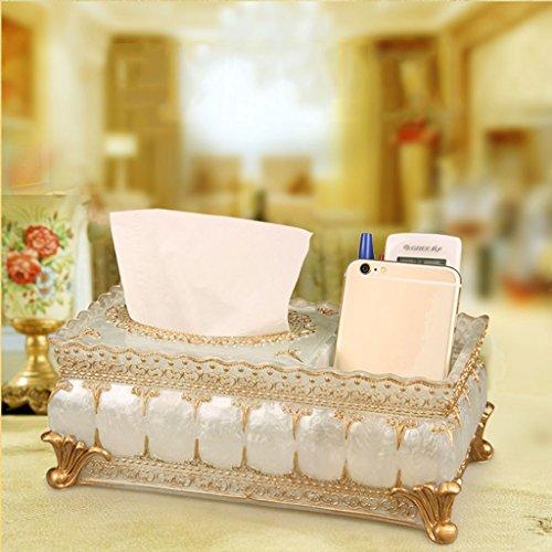 Tücherboxen ZQG Europäische Rechteckige Wohnzimmer Schlafzimmer Nette Hellblaue Harz Pumpen Kartons (Farbe : Pearl White)