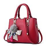 Elegante borsa a tracolla da donna Borsa media per borse da donna Messenger Palla di pelliccia Nastro fiocco Decor Borse a tracolla femminili Wine red 23x13x23cm