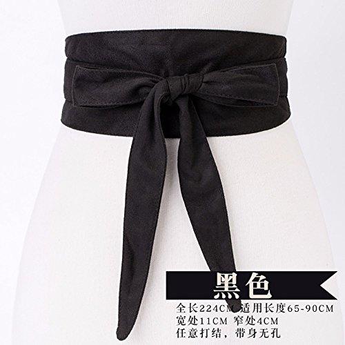 Wildleder Öse (mode - wildleder - bogen gürtel weibliche dekorative pullover frack taillengürtel breite,schwarz)