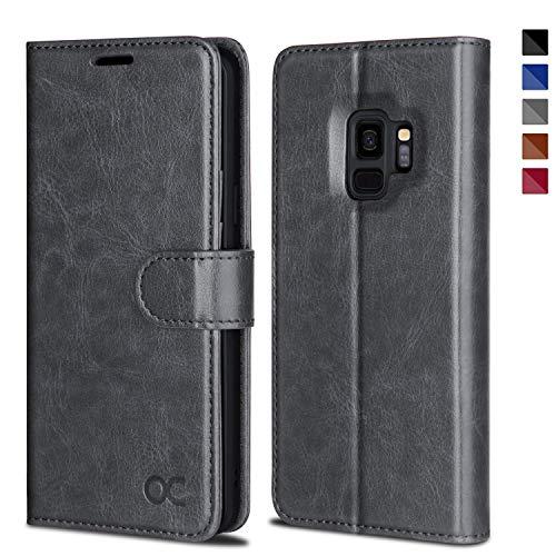 OCASE Samsung Galaxy S9 Hülle, Handyhülle Samsung Galaxy S9 [Premium Leder] [Standfunktion] [Kartenfach] [Magnetverschluss] Schlanke Leder Brieftasche für Samsung Galaxy S9 (5,8 Zoll) (Grau)
