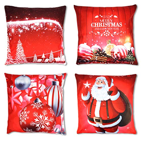 OWUDE Merry Christmas Pillow Covers Pack de 4