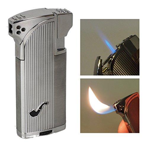 Pfeifenfeuerzeug und Zigarrenfeuerzeug in Einem Cozy Double Silver Satin inkl. Lifestyle-Ambiente Tastingbogen