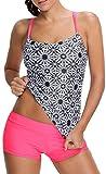 EmilyLe Women Tribal Printed Tankini Set Soft Elastic Swimsuits With Boyshort Three Piece Bikini (FBA) (UK Size 10-12 (L), Watermelon)