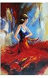 Wieco Art Flying Skirt Modern alargado y enmarcada Artwork Abstract Dancing People pintada al óleo sobre lienzo Wall Art Pronto de colgar para salón dormitorio de cama Home Decorations Wall Decor
