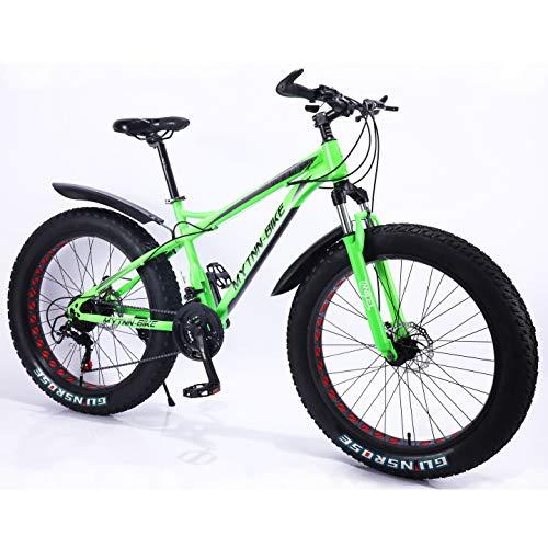 MYTNN Fatbike neues Style 2019 26 Zoll 21 Gang Shimano Fat Tyre Mountainbike 47 cm RH Snow Bike Fat Bike (grün)
