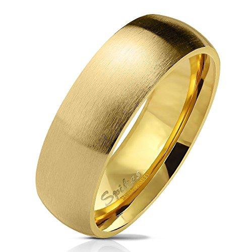 Bungsa 52 (16.6) Goldener Ring für Damen & Herren - Gold - Damenring aus Edelstahl matt - Edler Edelstahlring geeignet als Verlobungsringe, Freundschaftsringe & Partnerringe