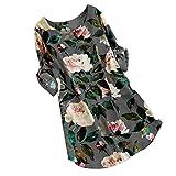 SEWORLD 2018 Damen Mode Sommer Herbst Frauen V-Ausschnitt Oberteile Blumen Drucken Minikleid Sommer Party Langarm Kleid Übergröße(Y-b-Grau,EU-40/CN-S)