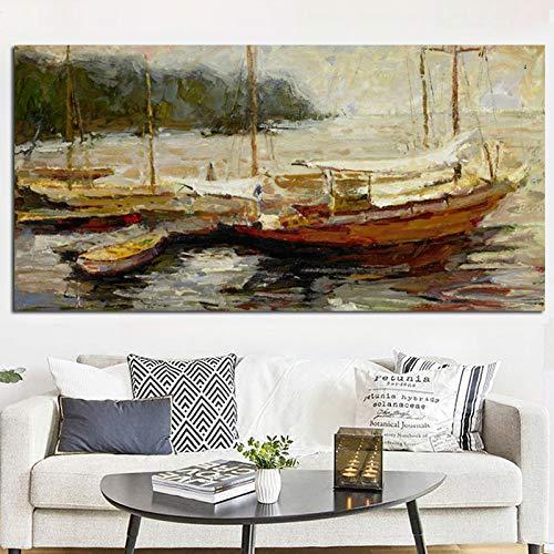 RTCKF Paesaggio Marino Barca Paesaggio Poster Pittura a Olio Astratta in Soggiorno Decorazioni per la casa Tela Parete Immagine Oceano Paesaggio (Senza Cornice) A5 50x100cm