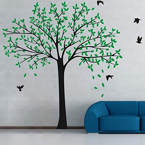 YuanMinglu Riesige Design Kunst Silhouette Kinderzimmer Baum mit fliegenden Vogel Wand Poster Zuhause Kinderzimmer Dekoration Tapete grünes Blatt 170x190cm