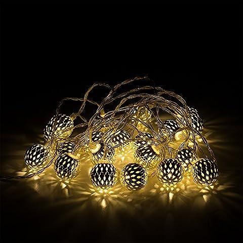MiniSun – Guirnalda LED luminosa 'Foukach' - 20 luces blancas cálida en cadena, con decorativos farolillos plateados marroquíes, a pilas