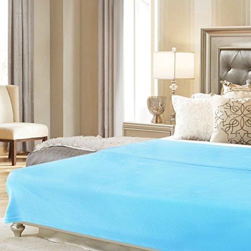 LANGRIA Manta de Sofá y Cama de Microfibra de Poliéster  Suave  Cálida  Resistente a las Arrugas  No pierde Color  para Adultos y Niños  220x240cm (Azul Celeste)