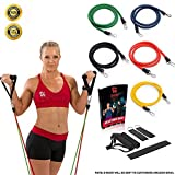 Resistance Bands Set – Great for Improving Mobility, Strength, Yoga, Burn Fat, Pilates or for Injury Rehabilitation – For Both Women and Men – 5 Premium Exercise Bands The Perfect Home/Travel Fitness – 4 Weeks Workout Plan – Lifetime Guarantee