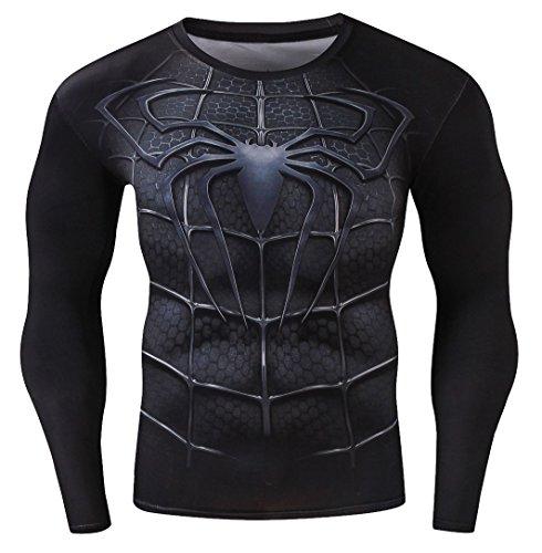 Cody Lundin Homme Compression Manches Longues t - shirt Série des Héros Mouvement Fitness Jogging collants Chemise (M, Spider héros)