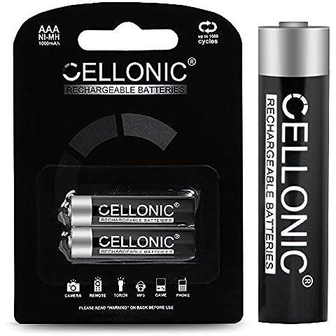 Cellonic® Batterie AAA ricaricabile - 1000mAh - precaricato e pronto all'uso - lunga durata e vita - 2x Batteria AAA (Micro / HR03), pile AAA ricaricabile