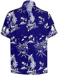 LA LEELA Palma Ocasional Floral buttotn Abajo Camiseta de Manga Corta los Hombres Hawaiano